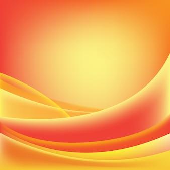 Abstracte golvende glanzende, zonnige, rode en oranje achtergrond