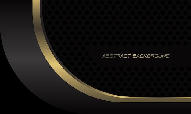 Abstracte goud zwart metallic geometrische curve overlap snelheid op donkergrijze cirkel mesh moderne luxe futuristische technologie achtergrond
