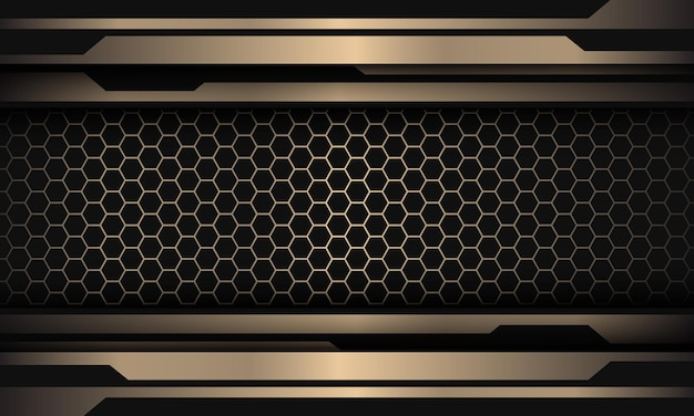Abstracte goud zwarte lijn cyber op zeshoek mesh patroon ontwerp moderne luxe futuristische achtergrond Premium Vector