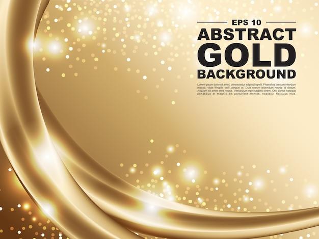 Abstracte gouden achtergrond met 3d gouden vloeibare ontwerpillustratie