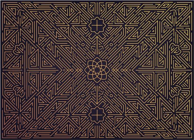 Abstracte gouden achtergrond met arabische motieven. art deco-bruiloft, feestpatroon, geometrisch ornament