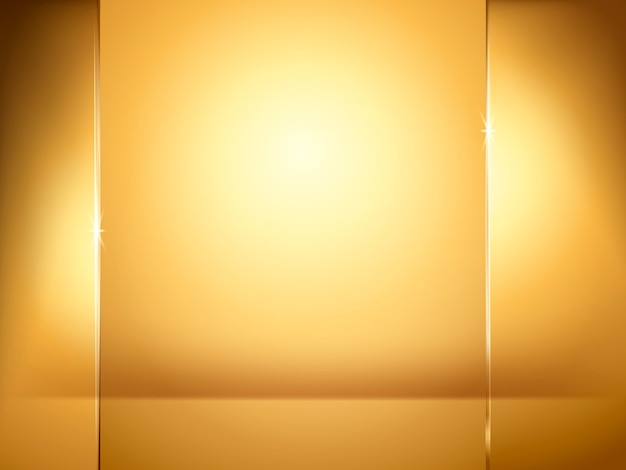 Abstracte gouden achtergrond, verlichting en glasplaatelementen in illustratie