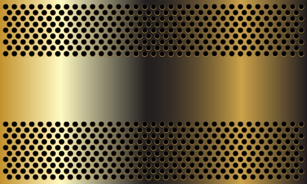 Abstracte gouden banner op cirkel mesh ontwerp moderne luxe achtergrond.