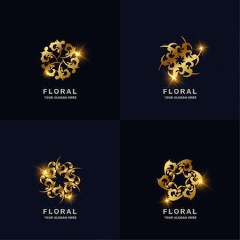 Abstracte gouden bloem of sieraad logo set collectie. kan worden gebruikt voor spa-, salon-, schoonheids- of boetieklogo-ontwerp.