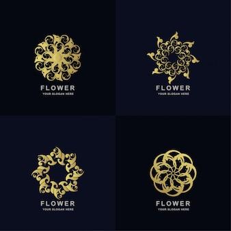 Abstracte gouden bloem of sieraad logo set collectie. minimalistisch, creatief, eenvoudig, digitaal, luxe, elegant en modern logo sjabloonontwerp.
