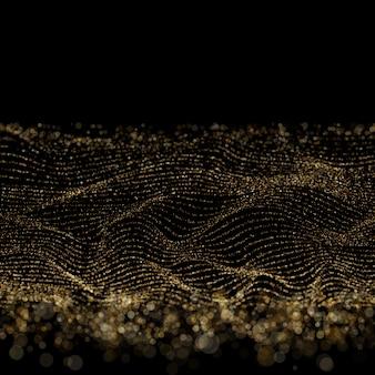 Abstracte gouden bokeh op zwarte achtergrond. digitale golfdeeltjes vormen voor digitale achtergrond.