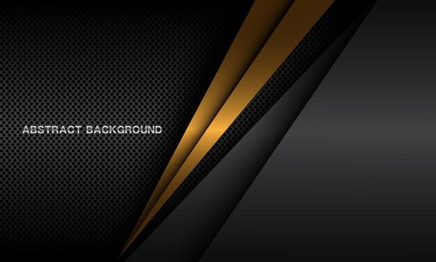 Abstracte gouden driehoeksschaduw op donkere metalen cirkel mesh patroon ontwerp moderne luxe futuristische achtergrond.