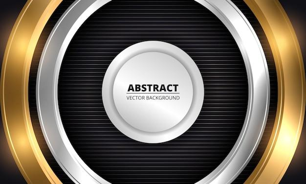 Abstracte gouden en zilveren cirkels op gestreepte zwarte luxeachtergrond