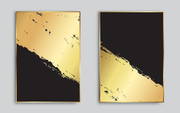 Abstracte gouden en zwarte grungeachtergronden