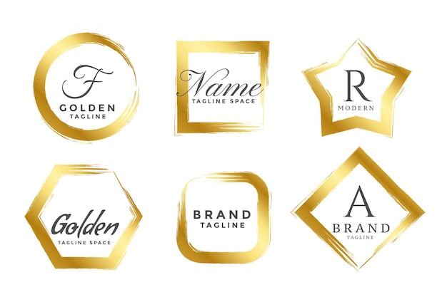Abstracte gouden frame logo's of monogrammen instellen
