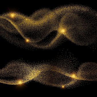 Abstracte gouden glanzende smokey golfvectoren