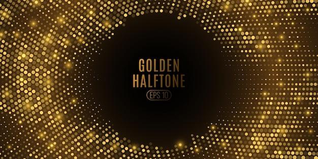 Abstracte gouden glinsterende halftoon. luxe gloeiende stippencirkel.