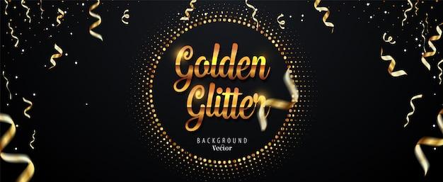Abstracte gouden glitter achtergrond met vallende linten