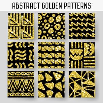 Abstracte gouden glitter hand getrokken naadloze patronen set. glanzende achtergronden voor inpakpapier, uitnodigingen, posters.