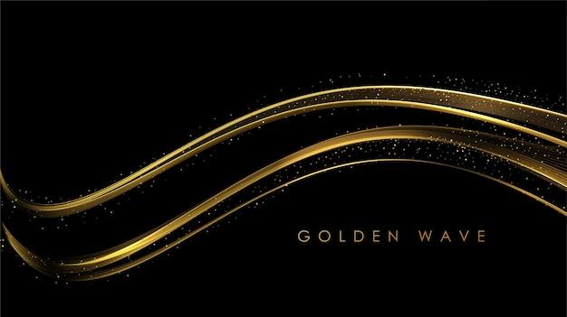 Abstracte gouden golven glanzende gouden bewegende lijnen ontwerpelement met glitter effect op donkere achtergrond voor wenskaart en disqount voucher