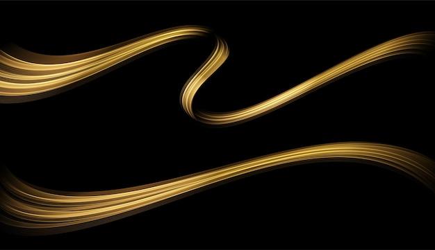 Abstracte gouden golven. glanzende gouden bewegende lijnen ontwerpelement met glittereffect op donkere achtergrond voor wenskaart en disqount voucher.