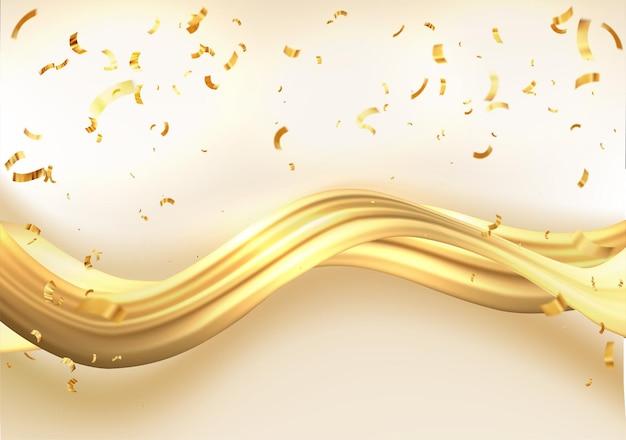 Abstracte gouden golven glanzende gouden bewegende lijnen