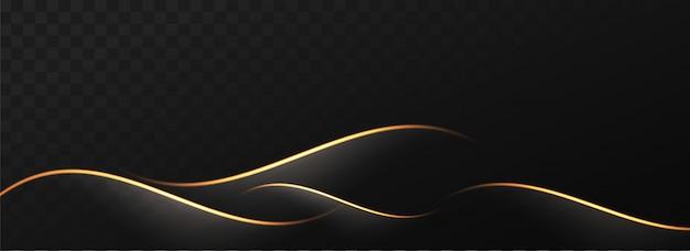Abstracte gouden golven op zwarte png achtergrond.