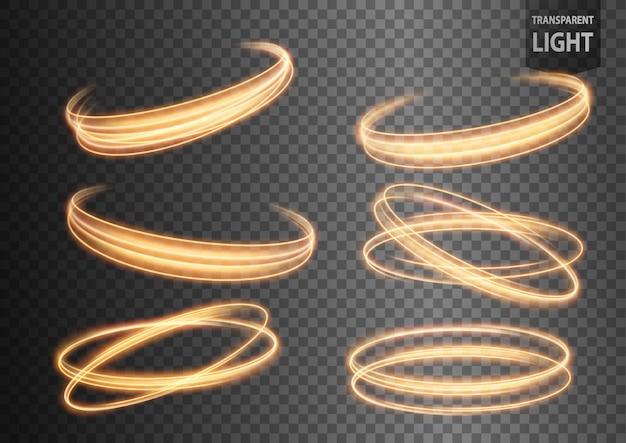 Abstracte gouden golvende lijn van licht die met een transparante achtergrond wordt geplaatst