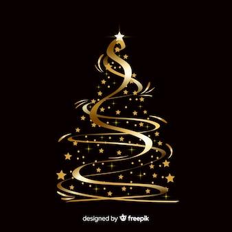 Abstracte gouden kerstboom