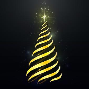 Abstracte gouden kerstboom Gratis Vector