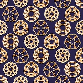 Abstracte gouden kettingen omcirkelt naadloze achtergrond. luxe sieraden patroon illustratie.