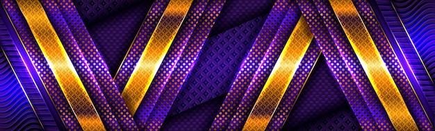 Abstracte gouden lichte lijnen op purpere blauwe achtergrond