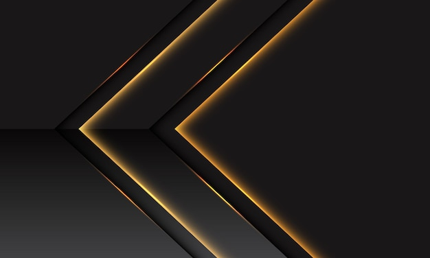 Abstracte gouden lichte pijl metaalrichting op donkergrijs met lege ruimteontwerp moderne futuristische technologieachtergrond