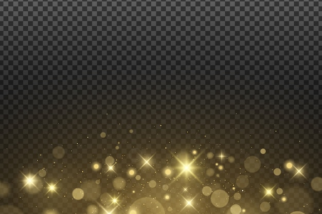 Abstracte gouden lichten bokeh geïsoleerd. stralende sterren en schittering. goud glitter.