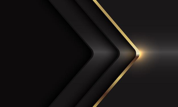 Abstracte gouden lijn pijl schaduw kromme richting op donkergrijze metalen moderne luxe futuristische achtergrond.