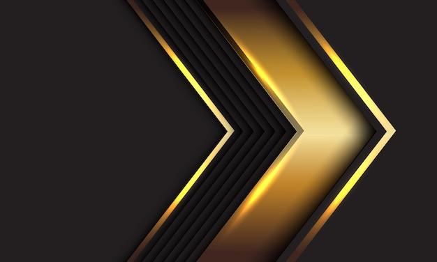 Abstracte gouden pijl richting geometrische schaduw op grijs ontwerp moderne luxe futuristische achtergrond
