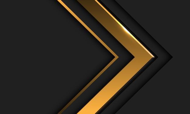 Abstracte gouden pijlrichting in donkergrijs met leeg ruimteontwerp modern futuristisch.