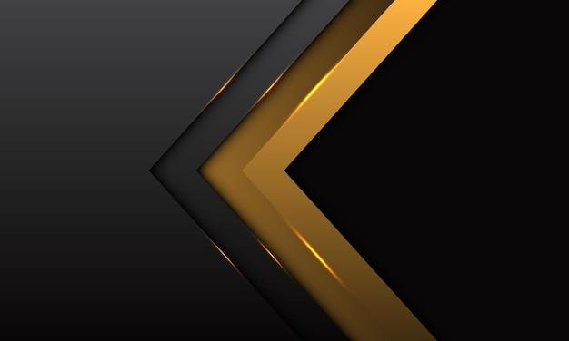 Abstracte gouden pijlrichting met grijs metallic met zwarte lege ruimte ontwerp moderne luxe futuristische achtergrond