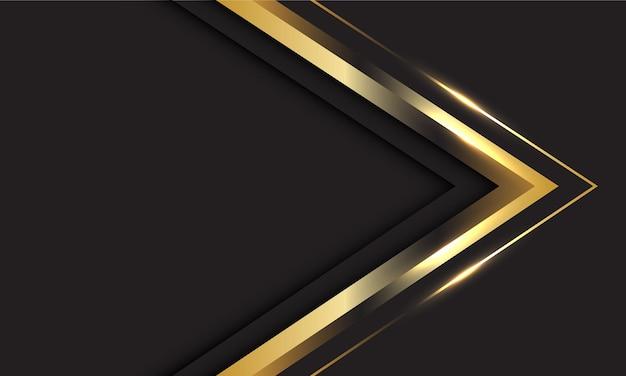 Abstracte gouden pijlrichting met lege ruimte. moderne luxe futuristische achtergrond