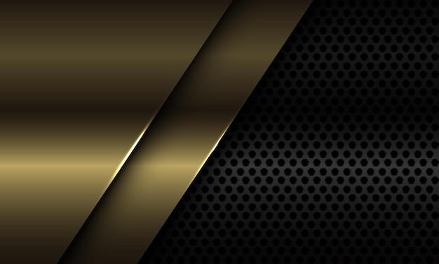 Abstracte gouden plaat overlappen op zwarte cirkel mesh ontwerp moderne luxe futuristische achtergrond illustratie.
