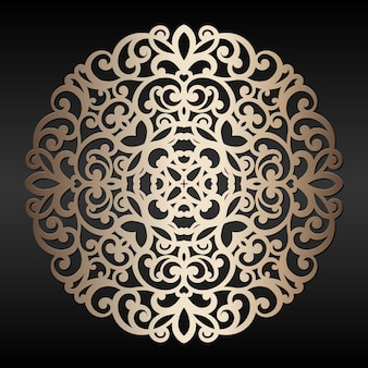 Abstracte gouden ronde element. lasergesneden mandala. oosters