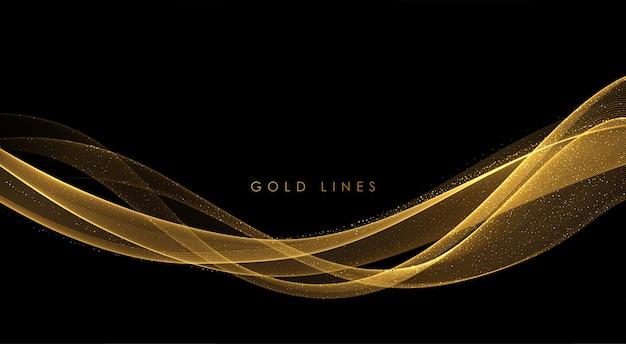 Abstracte gouden rook golven. glanzende gouden bewegende lijnen ontwerpelement met glittereffect op donkere achtergrond voor cadeau, wenskaart en disqount voucher. vectorillustratie