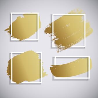Abstracte gouden verf penseelstreek hand getrokken. vuil artistiek ontwerpelement. vector illustratie