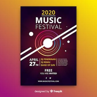 Abstracte gradiënt muziek poster sjabloon