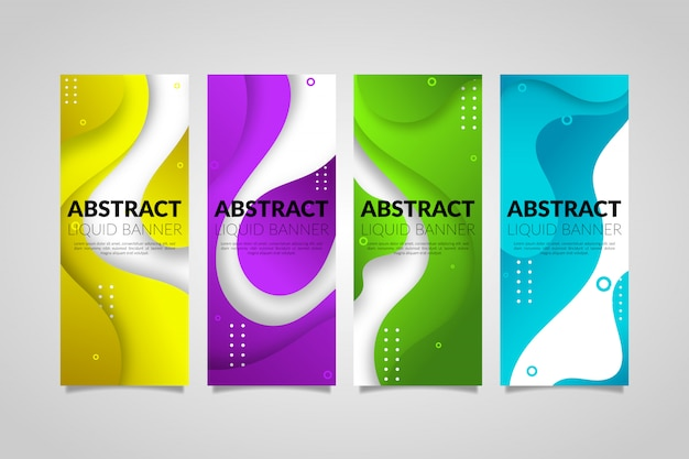 Abstracte gradiënt vloeibare vorm banners