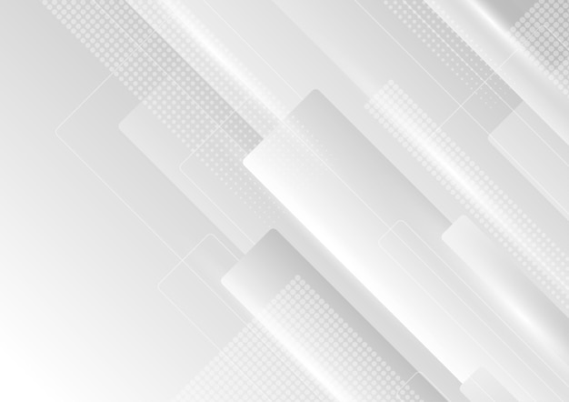 Abstracte gradiënt wit en grijs vierkant en rechthoek moderne patroonstijl. versier kunstwerkontwerp van presentatieachtergrond. illustratie