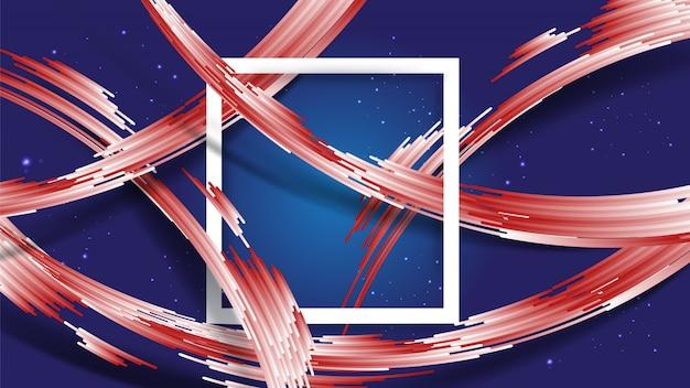 Abstracte gradiënt witte en rode strepen met schaduw op blauwe gradiënt en glitters ster