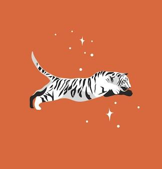 Abstracte grafische cartoonillustratie met schoonheid schattig hemels trendy wild witte tijger