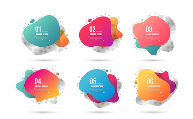 Abstracte grafische elementen. gradiëntbanners met vloeibare vormen. sjabloon voor folder of presentatie.