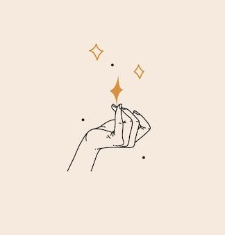 Abstracte grafische illustratie met boheemse hemelse magische lijntekeningen van vrouwenhand en sterren