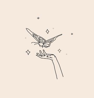Abstracte grafische illustratie met logo-element, boheemse magische kunst van vlinder en sterren