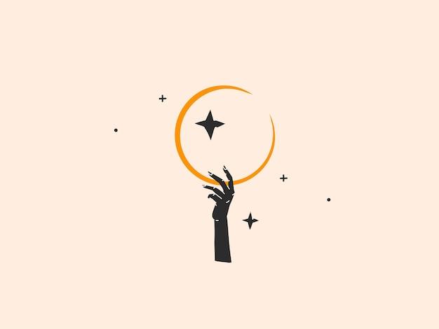 Abstracte grafische illustratie met logo-element, boheemse magische lijntekeningen van wassende maan