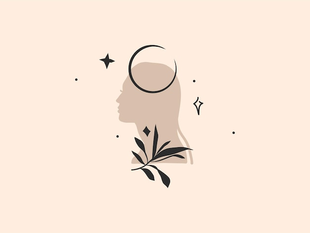 Abstracte grafische illustratie met logo-element, bohemien kunst van halve maan, vrouwensilhouet