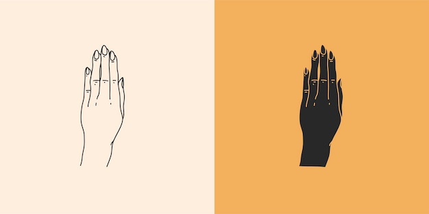Abstracte grafische illustratie met minimale logo-elementenset, handenlijntekening en silhouet