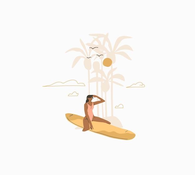 Abstracte grafische zomercartoon, illustraties print met bohemien mooi meisje zonnebaadt